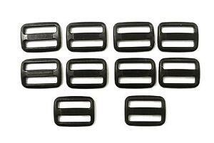100-x-25mm-Black-Plastic-3-Bar-Slides-For-Webbing-Bags-Straps-Fastenings-DIY-Etc