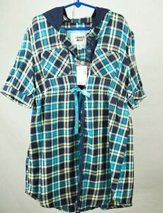 Girl-039-s-NWT-LIMITED-TOO-blue-yellow-plaid-short-sleeve-blouse-top-Size-14-Large