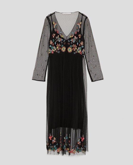 Zara AW17 damen Embroiderot Dotted Mesh Long Dress Größe S NWT