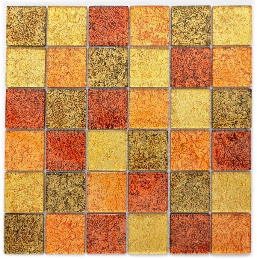 Mosaik Fliese Transluzent Glasmosaik Crystal gold Orange  |120-7424_f |10 Matten