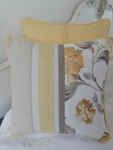 "laura ashley Eaton Stripe /& Hydrangea camomile fabric Cushion Cover 16/"" Piped"