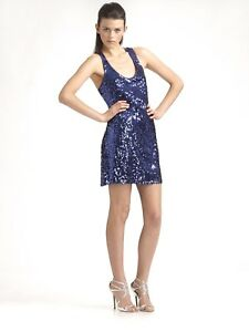 Mark-James-Badgley-Mischka-Mini-Dress-Blue-Sleeveless-Sequined-XS-S-Sheath-Club