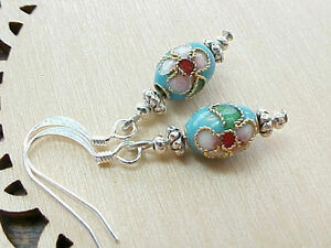 Mini-Easter-Egg-Earrings-Cloisonne-Robin-Blue-Pink-Cherry-Blossoms-Faberge-Gift