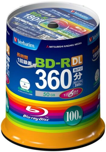 NEW 100 Verbatim Bluray Disc 50GB Dual Layer BDR 6X Speed Spindle