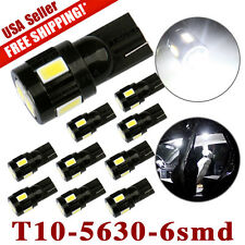 10x T10 6-SMD White 5630 LED Car Backup Dome Map Light Bulb W5W 194 168