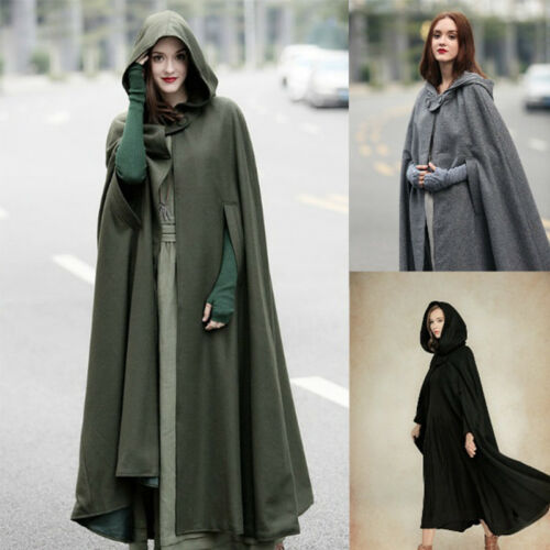 Women Vintage Stylish Solid Black Green Cloak Cape Jacket Long Hooded Parka Coat