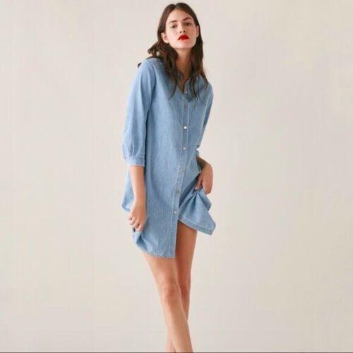 Zara Chambray Denim Shirt Dress Size XS