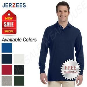 Pack of 6 Jerzees Mens SpotShield Long Sleeve Polo Jersey