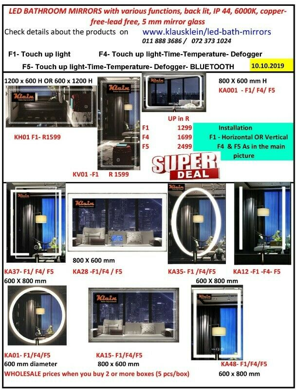 SALE LED Bathroom Mirrors in 5mm Copper-free  Lead-free with various functions