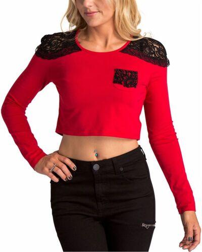 METAL MULISHA Women/'s Red Grim Knit Lace Graphic Long Sleeve Crop Top T-Shirt