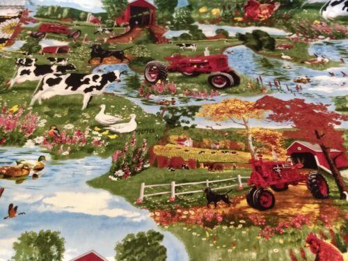 FARM LANDSCAPE *1//2 YARD* COWS DUCKS POND BARN TRACTOR Fabric Scrap Quilt Sew