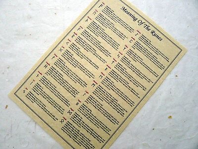 Rune Meanings Correspondence Parchment poster wicca pagan book of shadows BOS