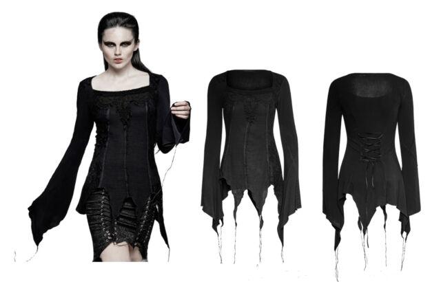 Punk Rave Gothic Nugoth Zipfel  Gypsy Shirt Bluse Spitze Steampunk Gothic T452