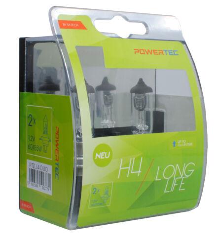 PTZLL4-DUO 2pcs Powertec Long Life H4 Bulb Set 12V Headlight Front Fog Light