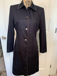 Womens Tahari Arthur Levine Black Coat/Jacket/Trench Coat Sz 6 Shoulder Pads
