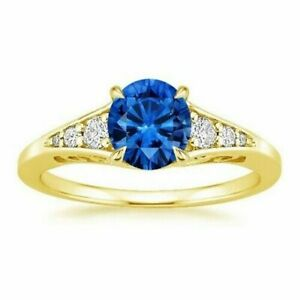 14K Yellow Gold Round 1.16 Ct Diamond Blue Sapphire Engagement Ring Size M N O