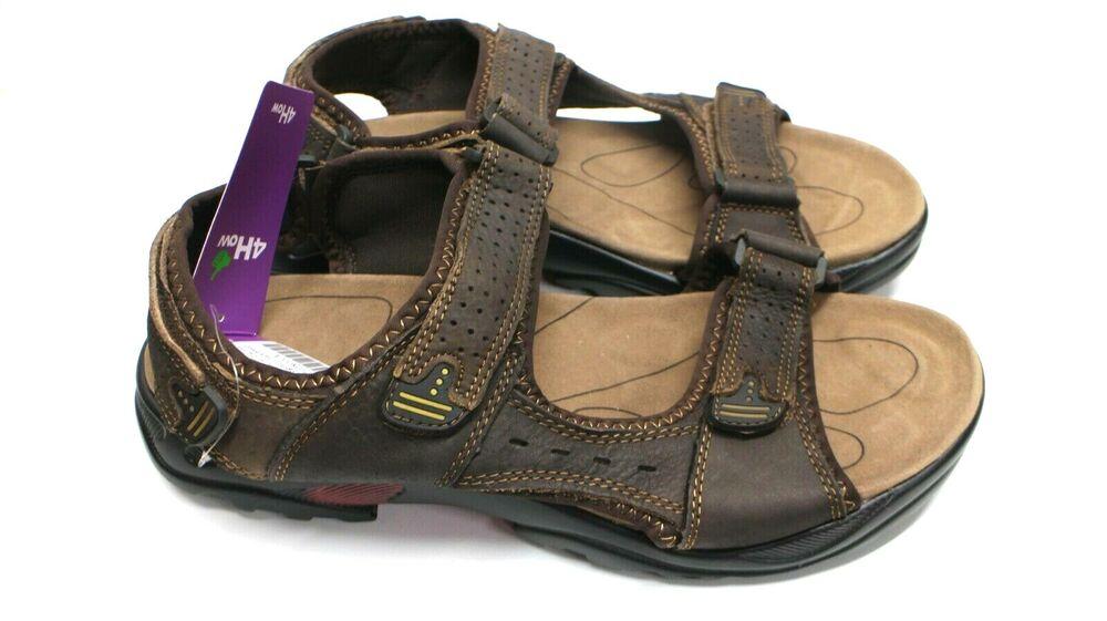 4how Men's Walking Sandales En Cuir Outdoor Sport Été Chaussures 10.5