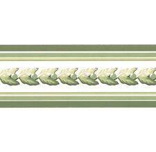 "Leaf Garland Stripe Wall Border Green & White 3"""