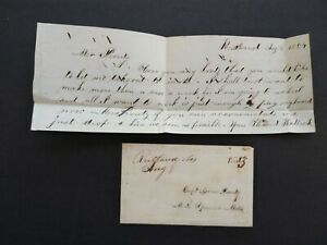 Massachusetts: Rutland 1854 Stampless Ladies Cover + Letter, Worcester Co