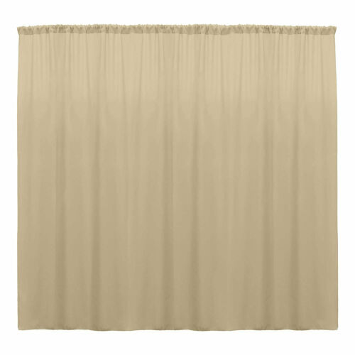 Beige 10 x 10 Ft Curtain Polyester Backdrop Drapes Panels with Rod Pocket