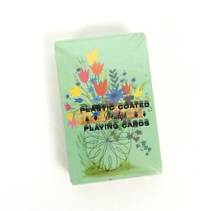 Floral-Bouquet-Bridge-Playing-Card-Deck-Sealed-Stamped-Plastic-Coated-MidCentury