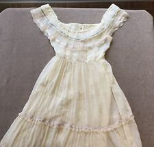 Vtg 70s Gunne Sax Off-White Off-Shoulder Tiered Ruffle Boho Prairie Dress Sz 13