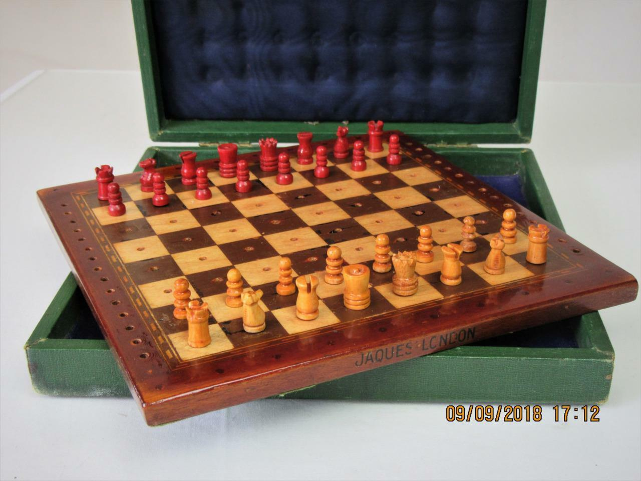 Cadeau de fin d'année, vente directe à à à l'usine Vintage travel Chess Set EARLY 20th C Jaques   44156a