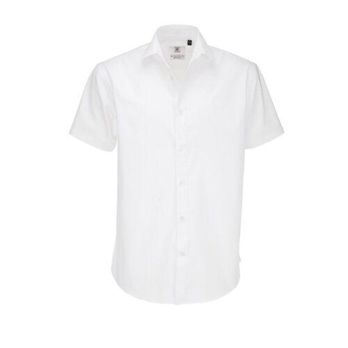 B/&C Mens Black Tie Short Sleeve Formal Work Shirt 7 Sizes 4 Colours RW3522