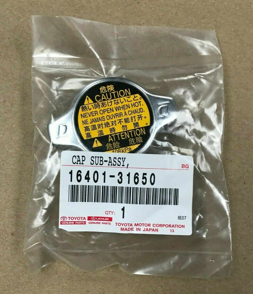 Radiator Cap Sub-Assembly Genuine Toyota 16401-31650