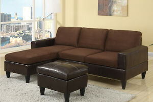 Leatherette amp fabric living room sofa sectional set with ottoman