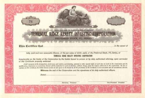 Temescal Ridge Realty /> California stock certificate