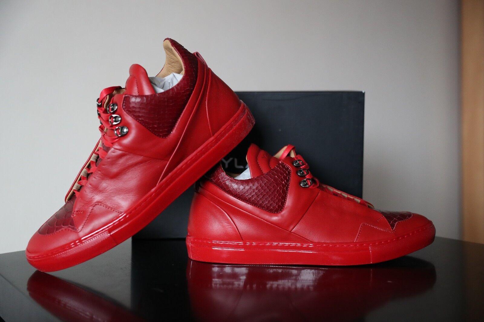 Ylati POSEIDON Rojo Serpiente Cuero Hombres Zapatos Talla Uk 11  45
