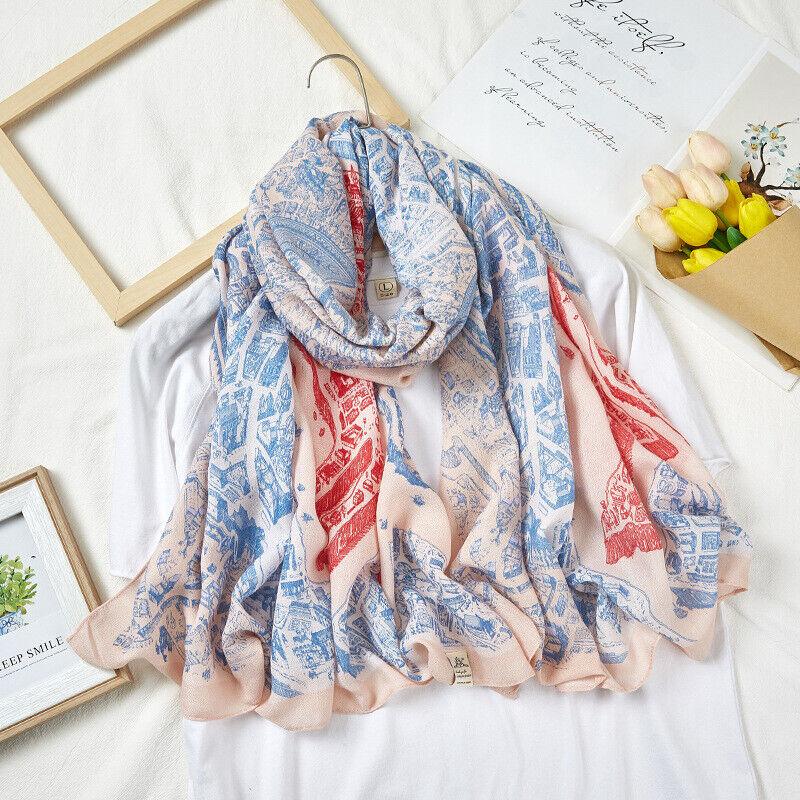 Women Fashion Long Scarf Cotton & Linen Feel Viscose Kerchief Horse City Stole