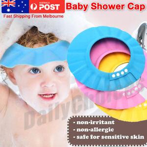 5b7afc482 Details about ADJUSTABLE BABY SHOWER CAP BABY KIDS CHILDREN BATH SHAMPOO  SHIELD HAT WASH HAIR