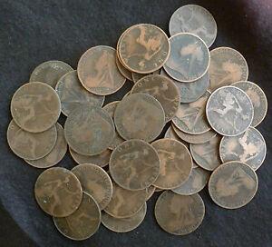 Vrac Lot De 25 Circulé Queen Victoria Vieux / Veiled Head Penny 1895-1901-afficher Le Titre D'origine Byougfjt-07232050-197787705