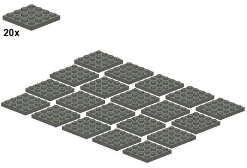 4x4 3031-09 20stk - placa-gris oscuro plates-darkbluishgray Lego ®