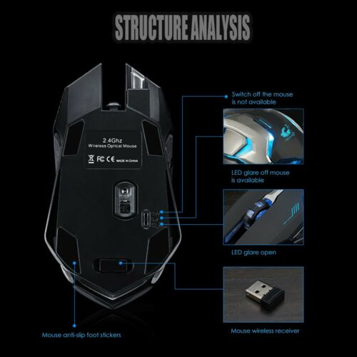 Optical Ergonomic Gaming Mouse Rechargeable Wireless Silent LED Backlit USB Mice