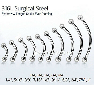 Chirurgenstahl Gebogene Hantel Augenbraue Zunge Ring & Nippel 20g To 10g To Enjoy High Reputation At Home And Abroad Jewelry & Watches Spirited 5pcs Body Piercing Jewelry