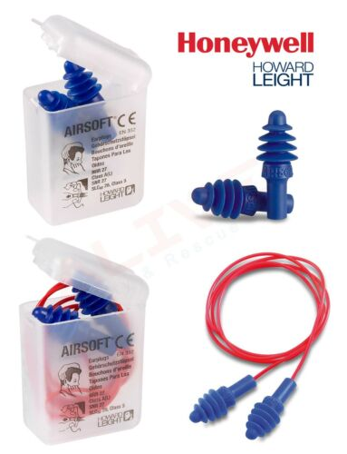 Honeywell HOWARD LEIGHT Reusable Earplugs Airsoft Corded /& Uncorded Ear Plugs