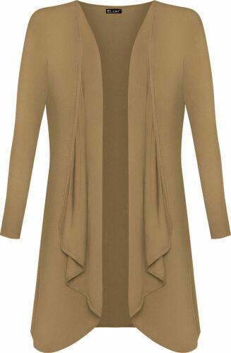 Femmes Mesdames Hanky Hem Jersey Taille Plus Haut à Manches Longues Cascade Ouvert Cardigan