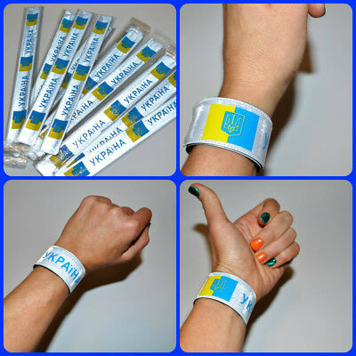 Ukrainian Flexible Bracelet Ukraine Flag Light Reflect Safety Wristband Adjust