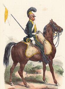 Gravure-XIXe-Chevau-Leger-Cavalerie-Napoleon-Bonaparte-Uniforme-Premier-Empire