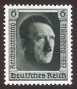 DR-Nazi-3d-Reich-Rare-WW2-Stamp-1937-Hitler-Head-Overprint-Fuhrer-Party-Congress