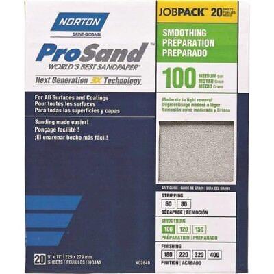"Norton ProSand A259 3X High Performance Sanding Sheet,11/"" X 9/"",100 Grit pk of 20"