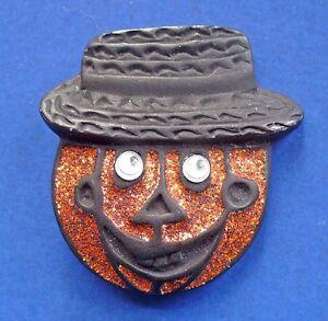PIN-Halloween-Vintage-PUMPKIN-Enamel-GOOGLY-EYE-Glitter-JOL-HAT-Holiday-Brooch