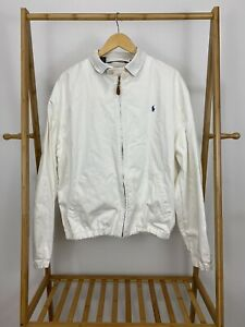 VTG-Polo-Ralph-Lauren-Men-039-s-Harrington-Full-Zip-Golf-Jacket-RARE-White-Size-XL