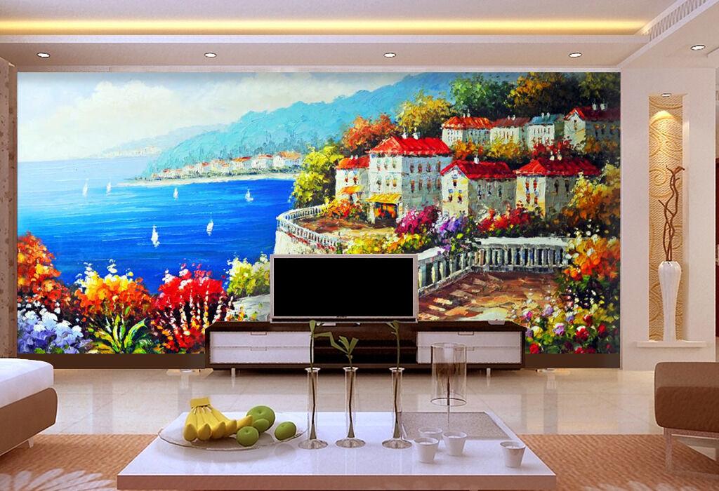 3D Farbe Haus, Meer 2 Fototapeten Wandbild Fototapete Bild Tapete Familie Kinder