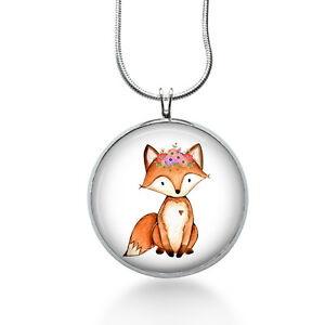 Fox-with-flowers-Necklace-Animal-Jewelry-hand-painted-art-Pendant-handmade