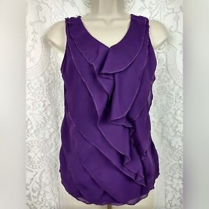 Ann-Taylor-Loft-Womens-Tank-Top-XSP-Ruffle-Petal-Purple-Career-Blouse-V-neck