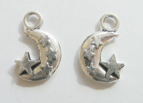 10 Moon Charms//Pendants Antique Silver 20mm Moon Star Charms
